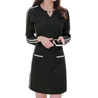 Striped V-Neckline Dress (Black) - Size S