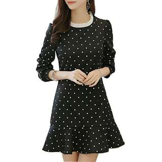 Polka Dot Frill Collar Ruffle Hem 3/4 Sleeve Dress (Black, White Dots) - Size S