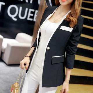 Pearl Button Asymmetrical Collar Blazer (Black) - Size S
