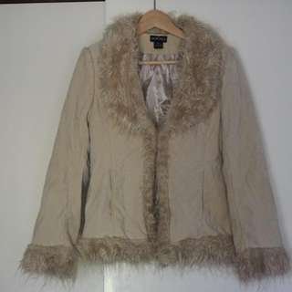 Faux Suede Cream Coat with Faux Fur