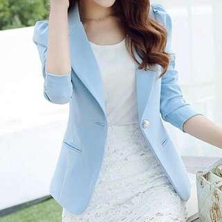 Pearl Button Collar Blazer (Sky Blue) - Size S