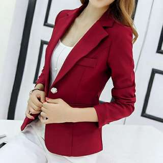 Pearl Button Collar Blazer (Wine Red) - Size S