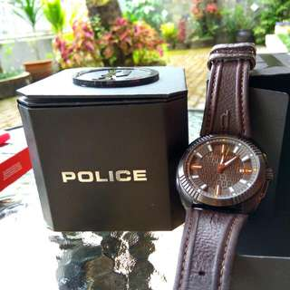 Ori & Authentic POLICE watch with Dark Brown Genuine Leather