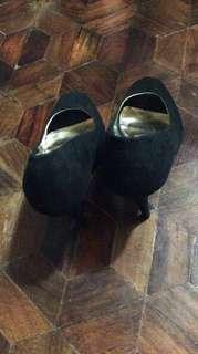 Figlia Black Formal Open Toe Pump Shoes