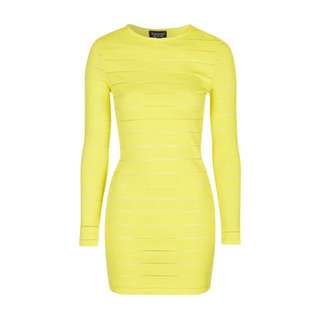 Topshop sheer solid bodycon dress in yellow