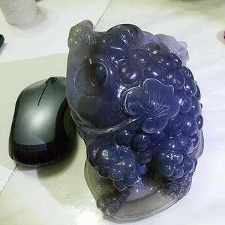 精雕紫瑪瑙三腳蟾蜍(全瑪瑙雕刻嘴巴是白水晶洞)