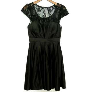 Gaudi Black Satin And Lace Party Dress - Preloved