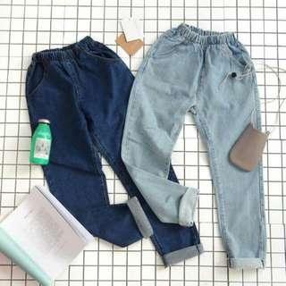 🍁INSTOCK! #424 basic elastic waisted denim leggings/slacks/pants