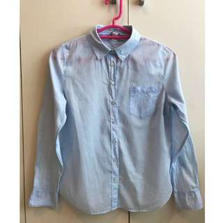 Forever21 Light Blue Long Sleeve With Collar
