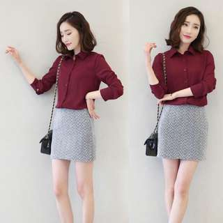 Maroon Button top