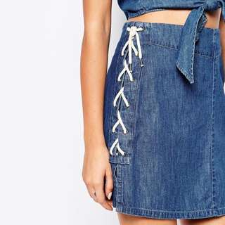 Noisy May Lace Up Denim Skirt