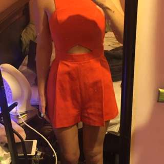 Topshop Orange Playsuit