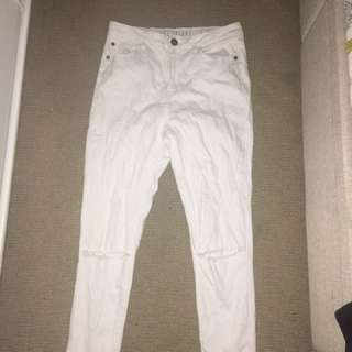 High Waisted Ripped White Skinny Jeans- Cotton On