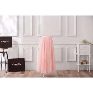 Peachy綿柔法式浪漫兩層蓬紗裙-蜜桃粉