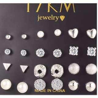 [PreOrder] 12 pair/set Silver Earrings