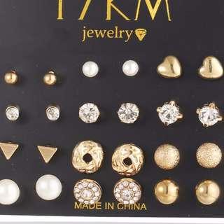 [PreOrder] 12 pair/set Gold Earrings
