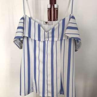 Stripey Off- Shoulder Shirt