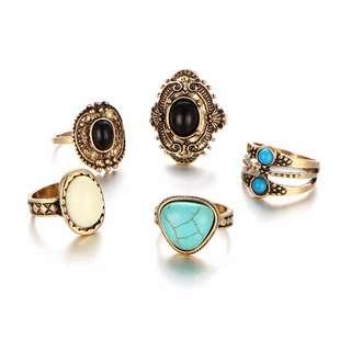 [PreOrder] 5 Pcs/Set Antique Silver/Gold Ring Set