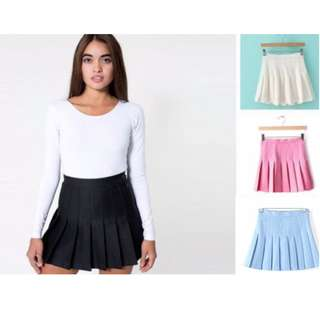 PLEATED TENNIS SKIRT only black and light blue HIGH WAISTED - SLIM & SOFT