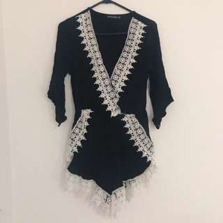 Pretty Little Thing Black and White Lace Playsuit