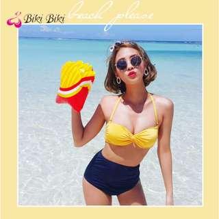 黃色藏青抹胸比基尼大小胸聚攏高腰保守泳衣