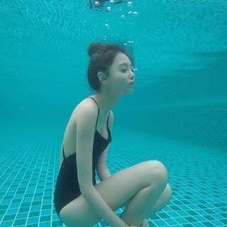 韓國黑色連體顯瘦性感遮肚泳衣