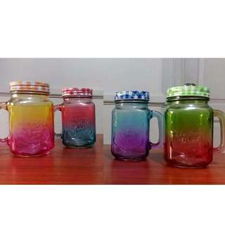 Ombre Mason Jars with Checkered Lids