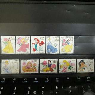 Disney Princess Used Stamps JAPAN