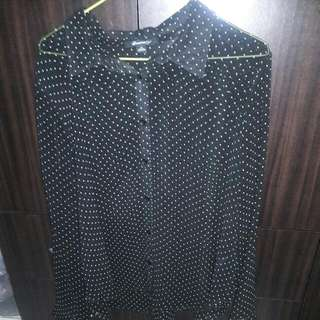 F21 Sheer Long Sleeved Button Up