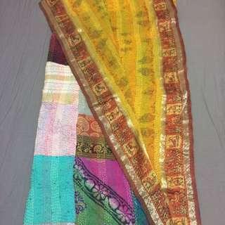 UNIQUE Multi Coloured Reversible Silk Scarf