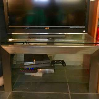 Glass Tv Stand w/ Stainless Steel Frame