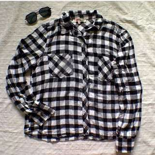 B&W Checkered Long Sleeve Polo