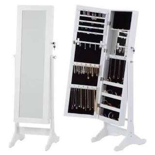 FREE STANDING WHITE JEWELLERY CABINET WITH MIRROR