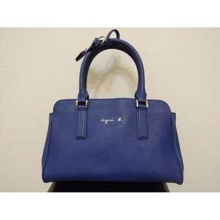 (可議價)日本 Agnes b 小B 深藍海軍 navy藍 藍色殺手包 肩背包側背包