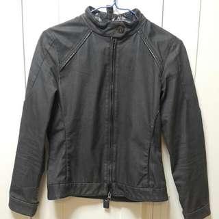 復古黑色仿皮布短褸 Vintage Black Leather-like Short Jacket