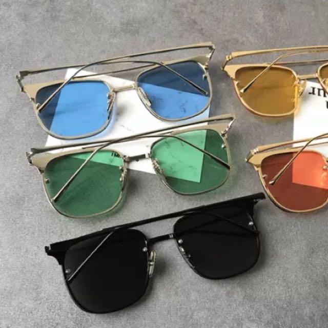 韓國原宿網紅同款復古太陽眼鏡金屬框海洋片透明片夜視鏡片墨鏡