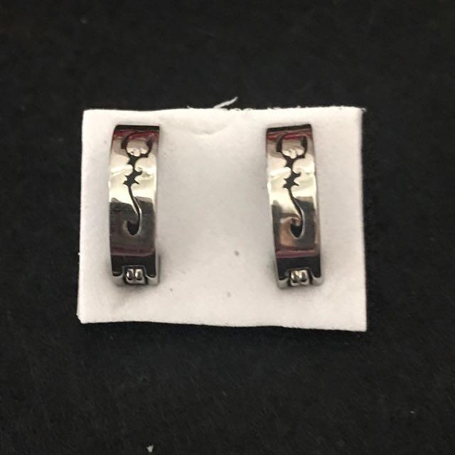 天蠍圖夾式耳環-純鋼