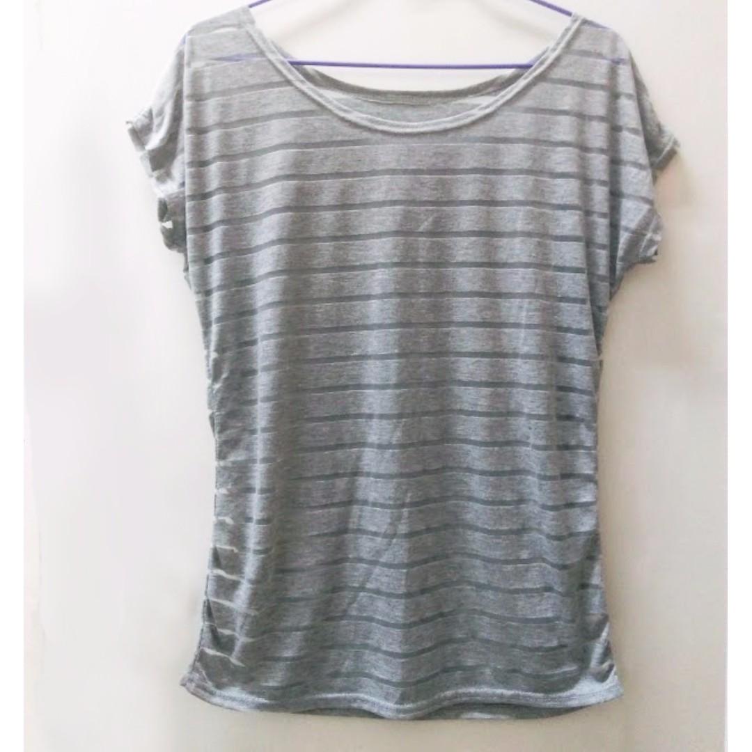透明條紋紗網上衣
