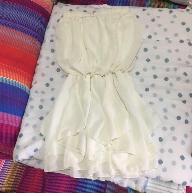 米白色平口跑趴洋裝