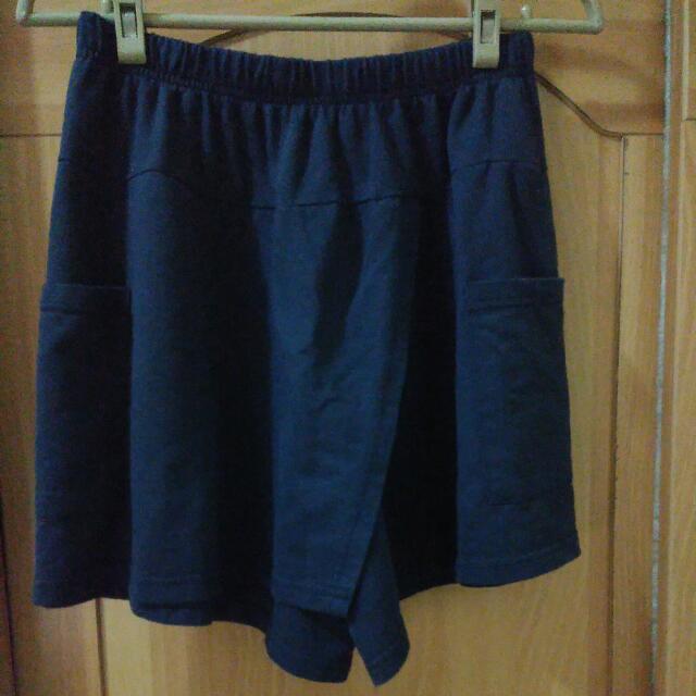 深藍一片褲裙