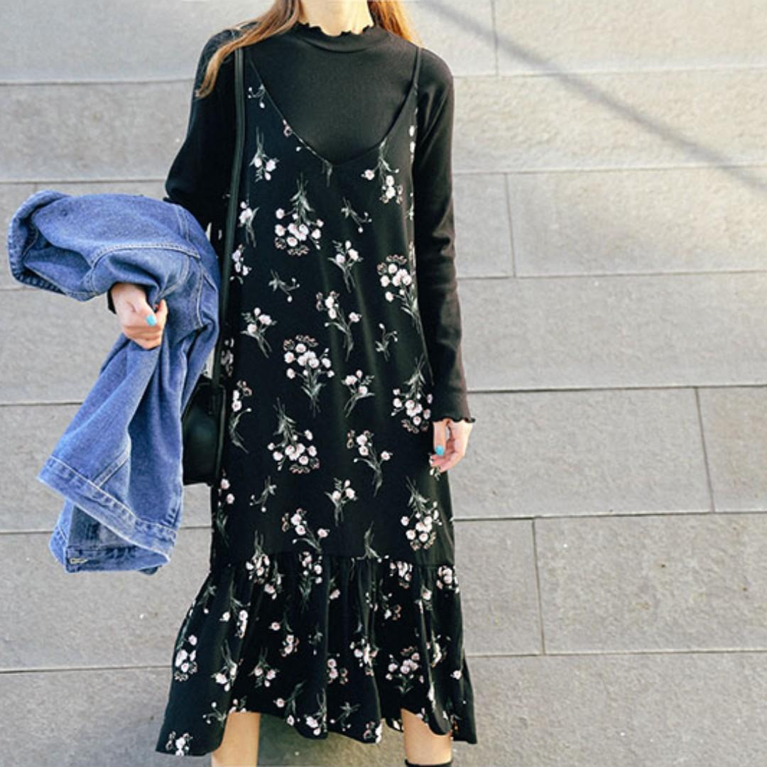韓國復古碎花吊帶洋裝 全新