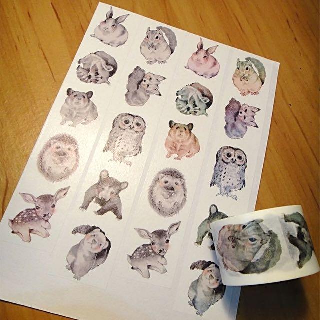 歪-素描小動物 紙膠帶分裝