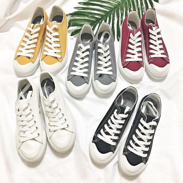現貨!小白鞋 鞋帶款 魔鬼氈 帆布鞋 無印 無印良品風 小黑鞋 韓國 韓版 韓妞 鞋帶 鞋帶款 男鞋 女鞋