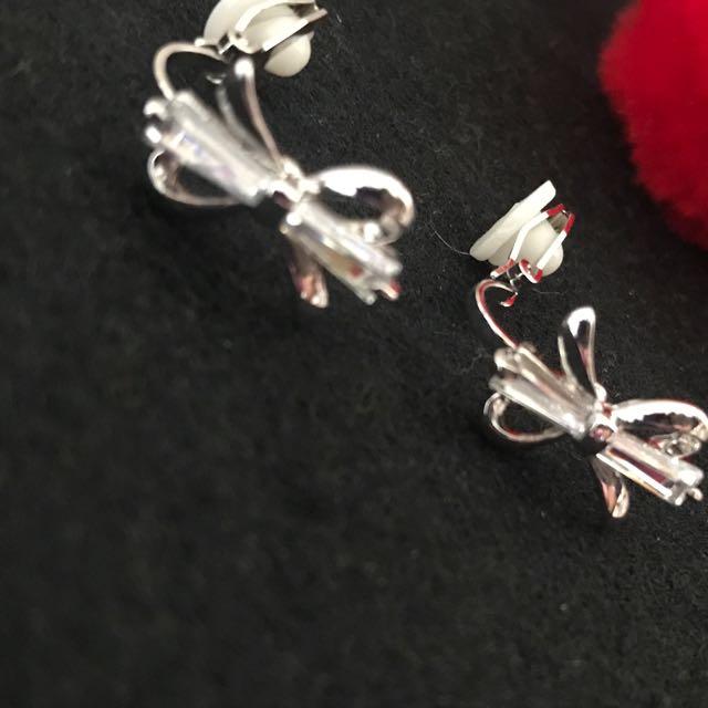 夾式耳環 -優雅氣質蝴蝶結系列 純鋼I0002