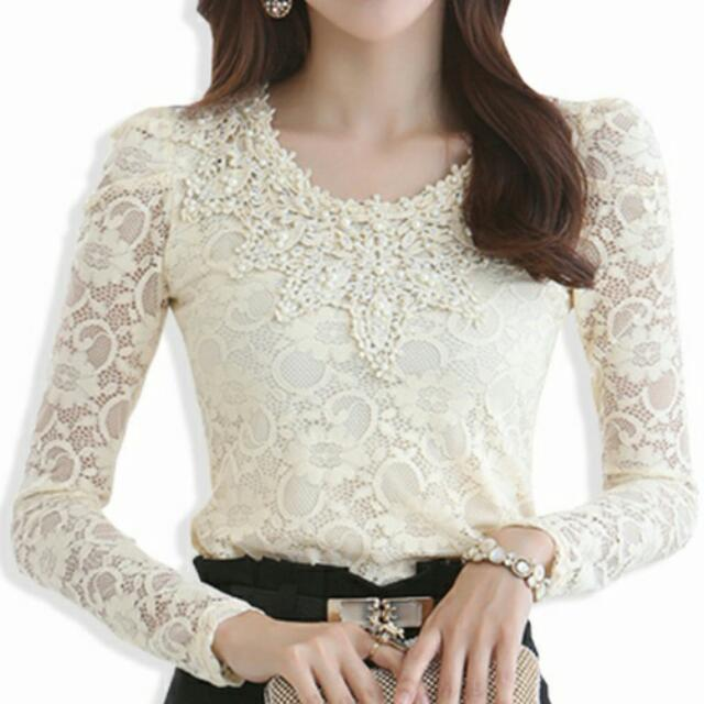 Beaded Crochet Lace 3/4 Sleeve Top (Beige Yellow) - Size S