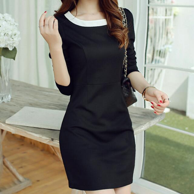 Boatneck A-Line Dress (Black, White Neckline) - Size M