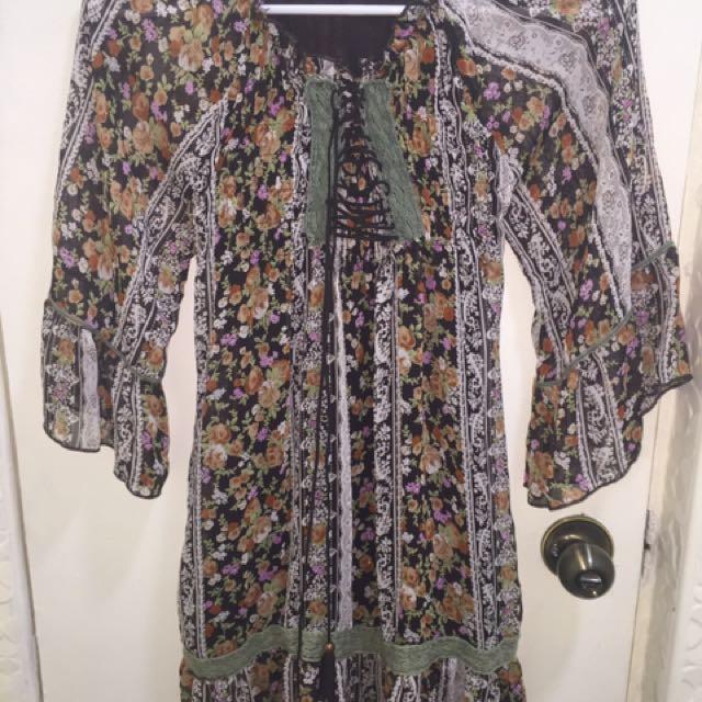 Boho Floral Off-Shoulder Dress