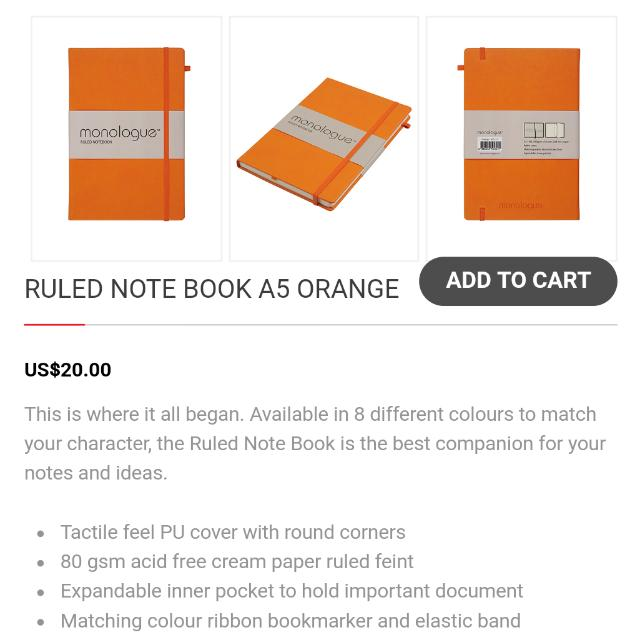 Book Monologue A5 Orange Hard Cover