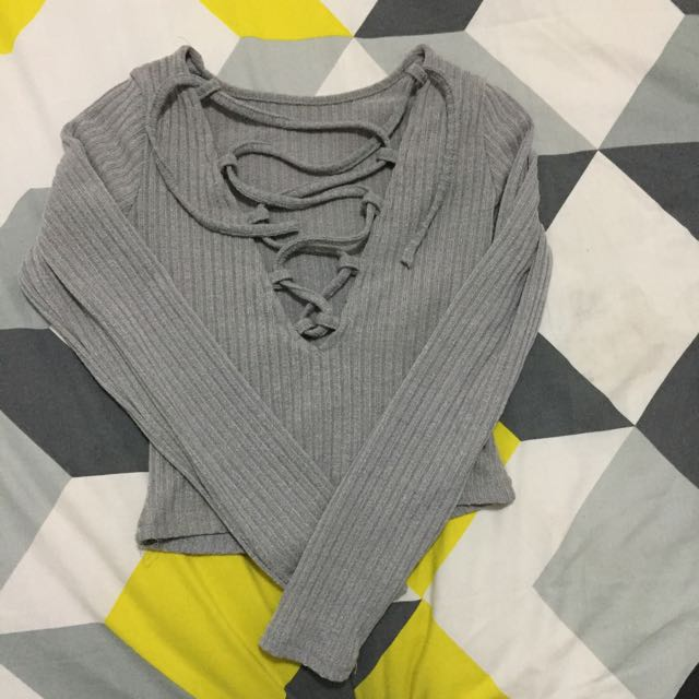 Crop Criss Cross Grey Crop Top