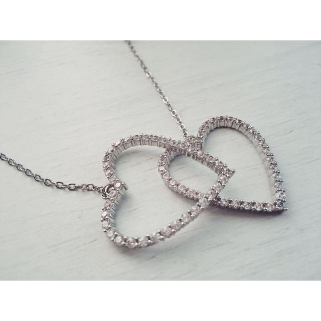 Crystal Heart Chain Earrings